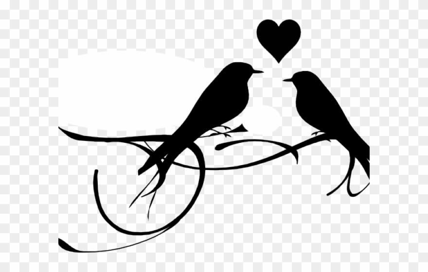 Love Birds Black And White Clipart (#976999).