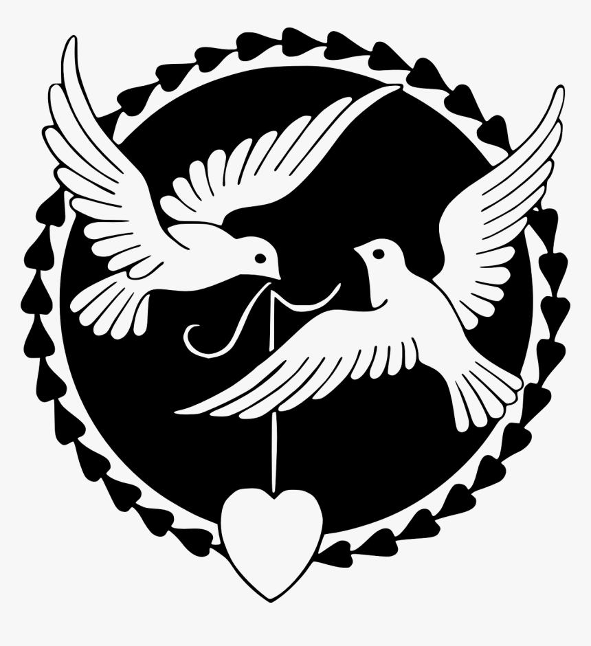 Love Birds Clipart Black And White, HD Png Download.