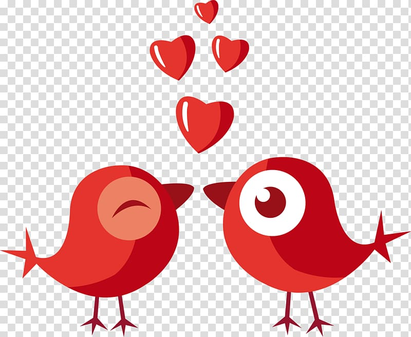 Two red birds kissing illustration, Love Valentines Day.