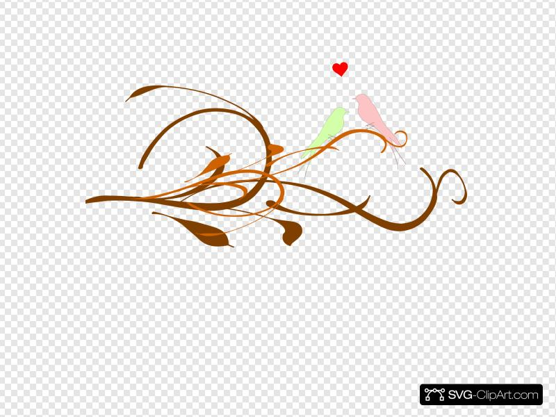 Love Birds On A Branch Clip art, Icon and SVG.