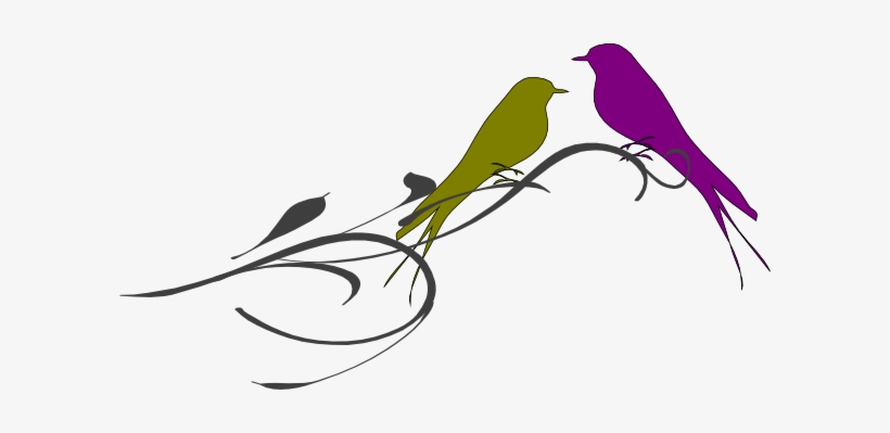 This Free Clipart Png Design Of Love Birds On A Branch.