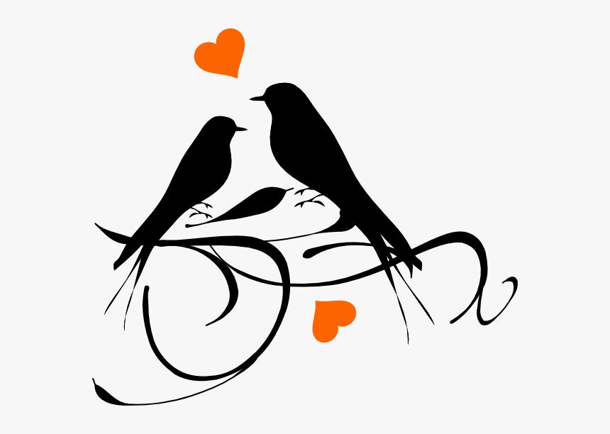 Birds On A Branch Hearts Svg Clip Arts.