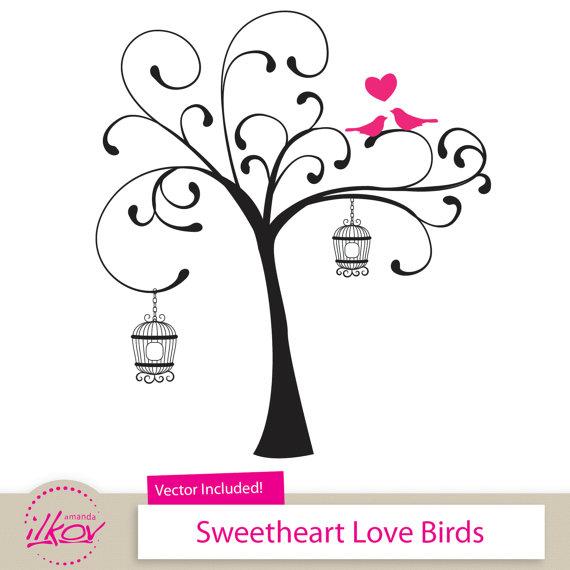 Love Birds Clipart for Wedding Invitations Wall Art Digital.
