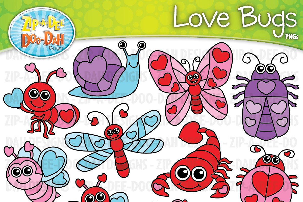VDay Love Bugs Clipart Set.