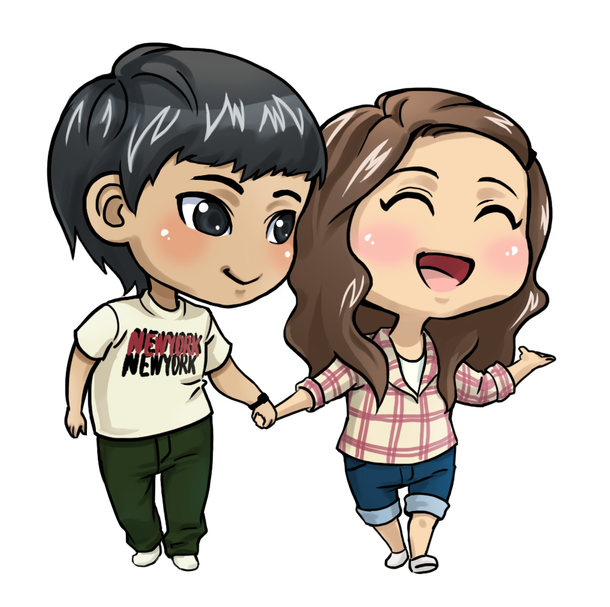 chibi, couple, cute, happy, love, together.