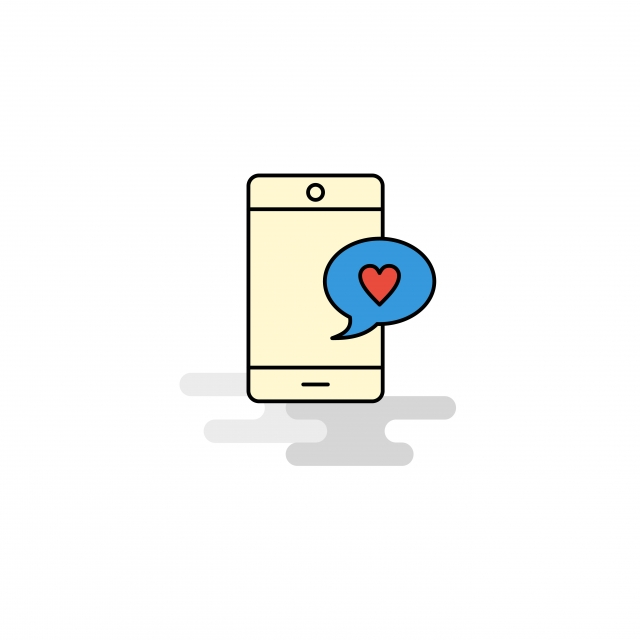 Flat Love Chat Icon Vector, Background, Bubble, Business PNG.