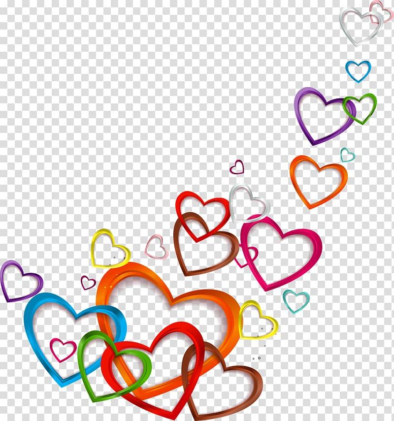 Love Euclidean , Floating love, multicolored heart sticker.