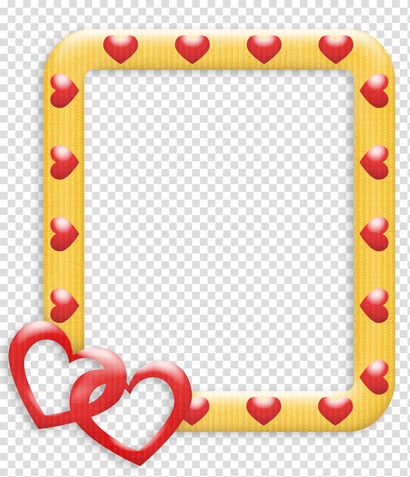 Frames Love, yellow and red heart frame illustration.