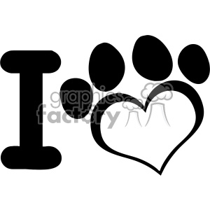 10709 Royalty Free RF Clipart I Love Dog With Black Heart Paw Print Logo  Design Vector Illustration clipart. Royalty.