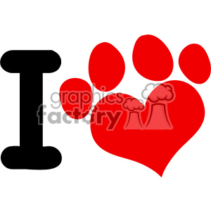 10701 Royalty Free RF Clipart I Love Animals With Red Heart Paw Print Logo  Design Vector Illustration clipart. Royalty.