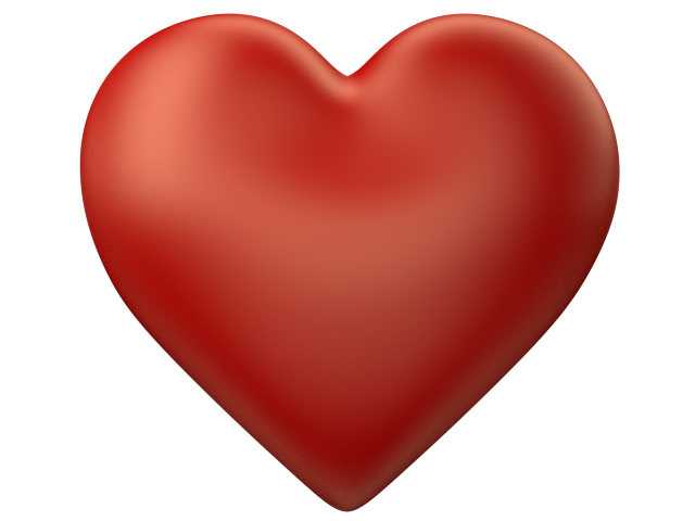 Red 3d Love Heart with Transparent Background.