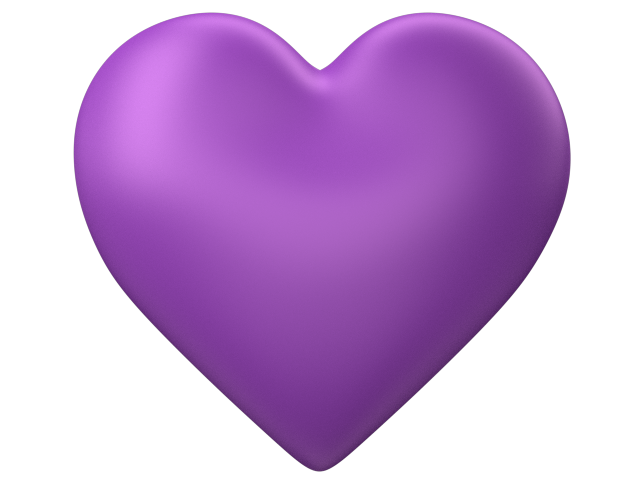 Purple 3d Love Heart with Transparent Background.
