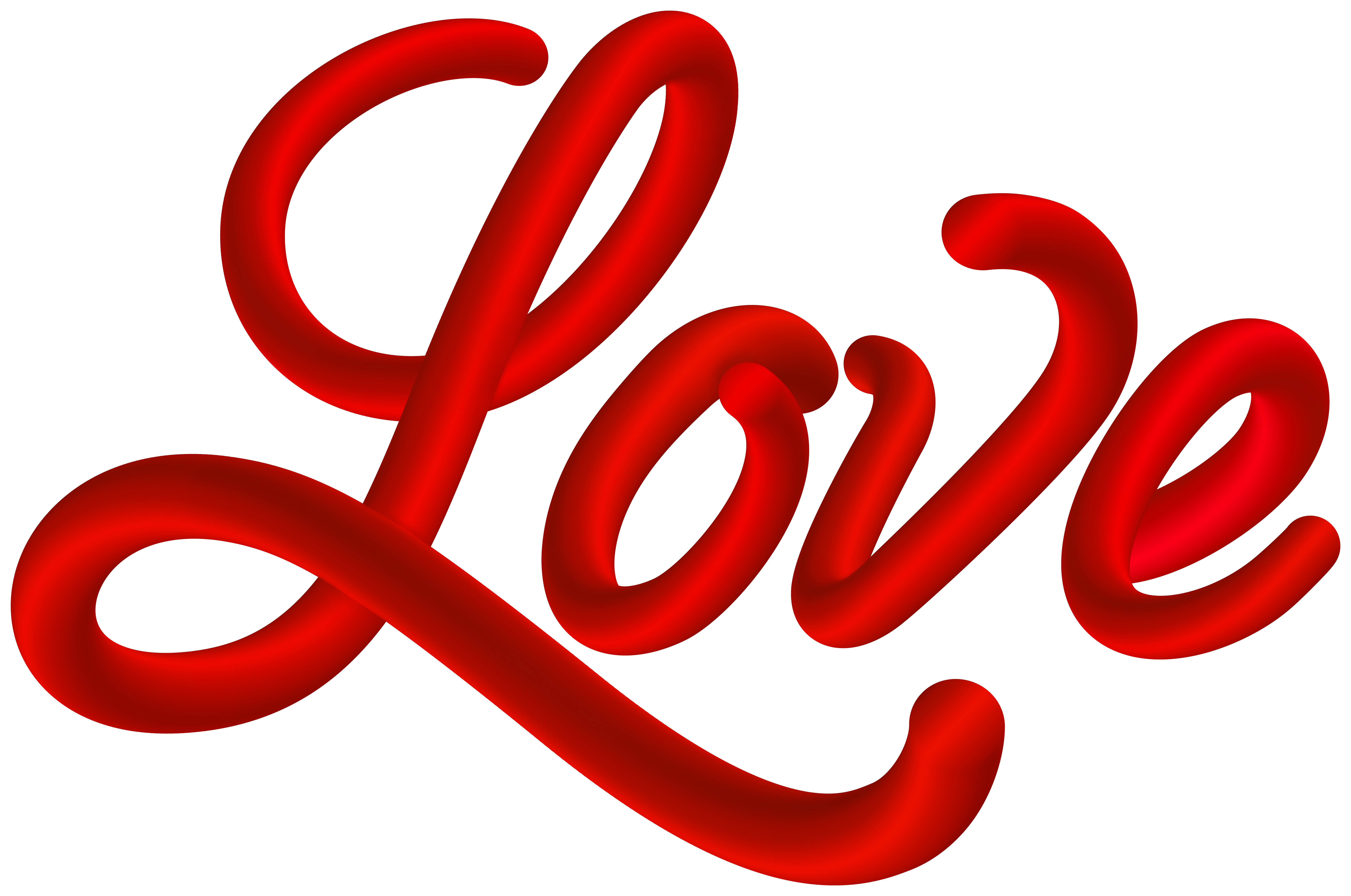 Red Love Text Clip Art Image.