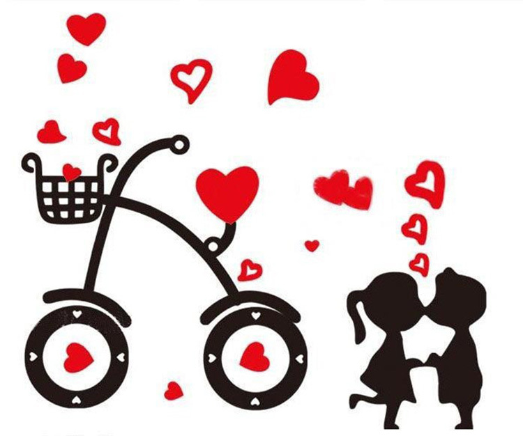 Free Shipping Hot Sell Sweet Cartoon Bicycle Love Wall.