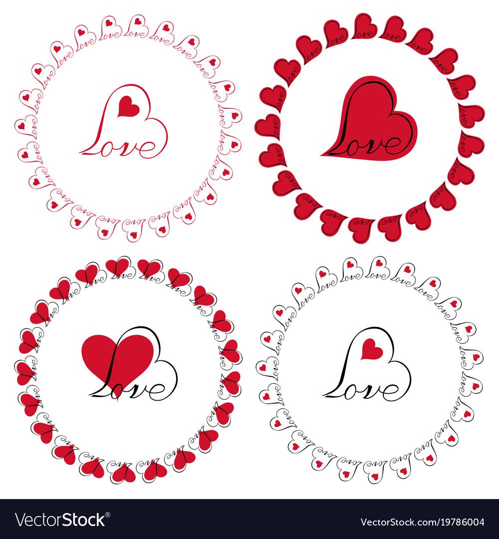 Love heart circle frames clipart.
