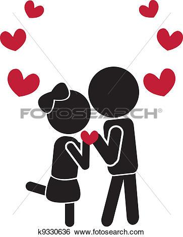 Clip Art of love couple k12269847.