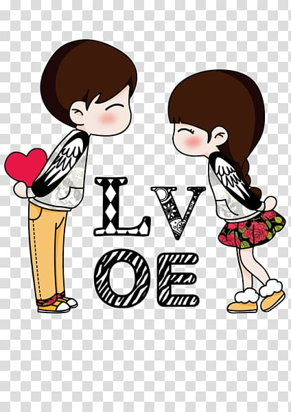 Icon, LOVE couple, boy and girl illustration transparent.