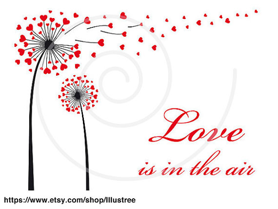 Dandelion Flower With Red Hearts, Love Is In The Air, Digital.