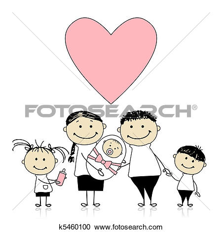 Clipart of Happy parents with children, newborn baby in hands.