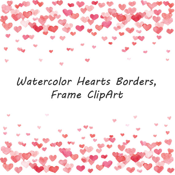 Watercolor Hearts Borders clipart, Frame Clipart, Watercolour.