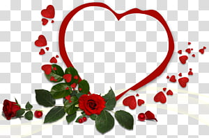 Love, red hearts frame transparent background PNG clipart.