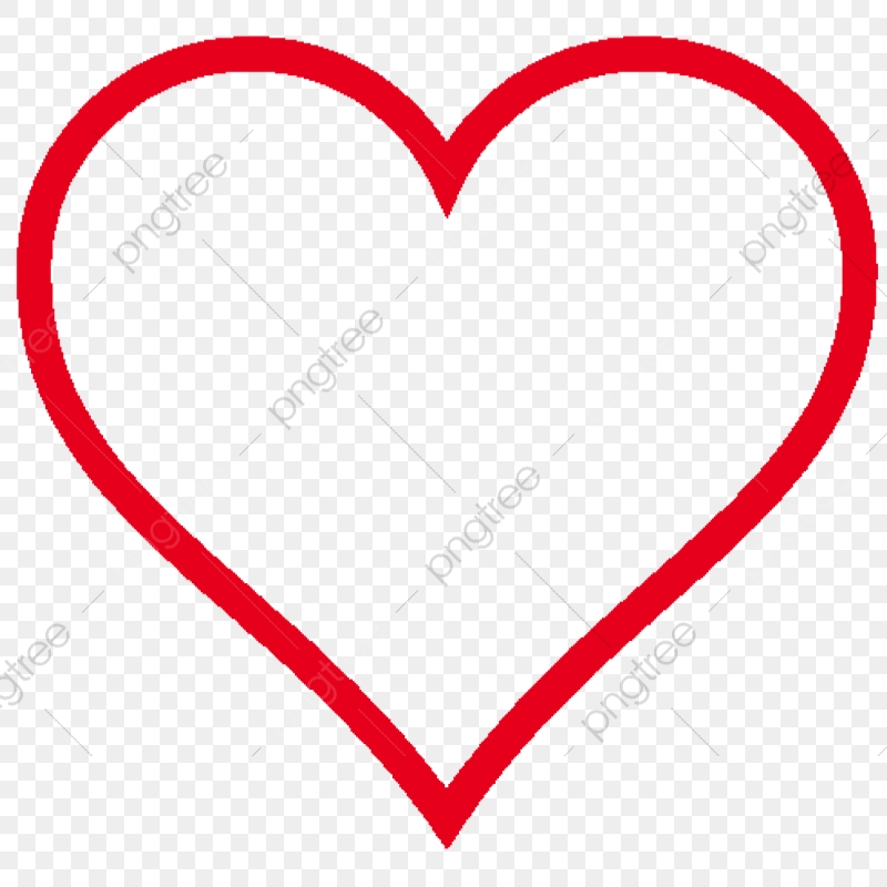 Love Heart Outline, Love Heart, Heart Vector, Red PNG.