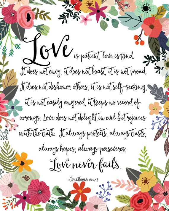 Love Is Patient Love Is Kind Print / Love Never Fails Sign.