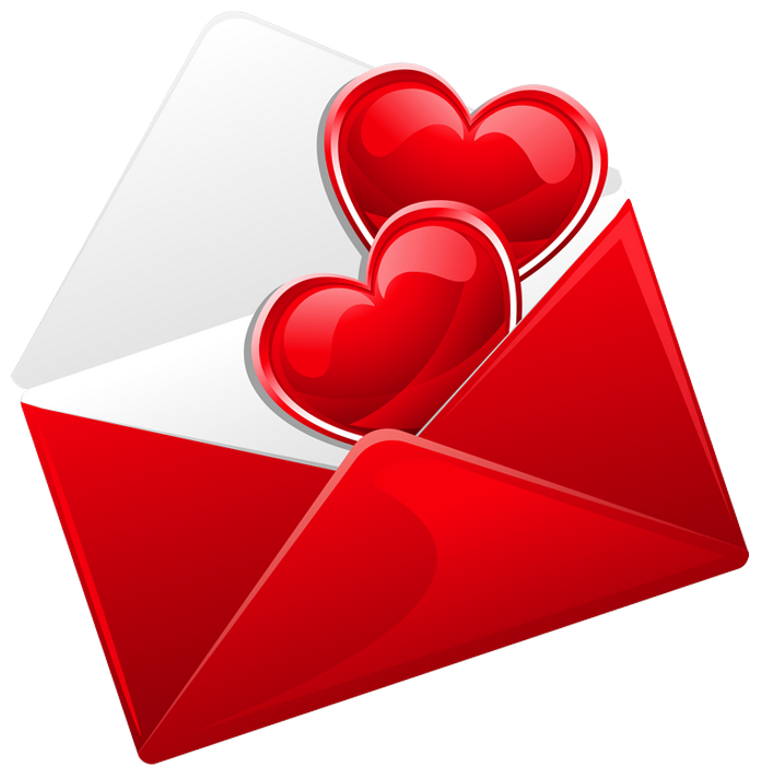 Transparent Red Love Letter with Hearts PNG Picture.