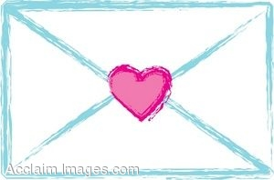 Clip Art of a Love Letter Sealed with a Heart.