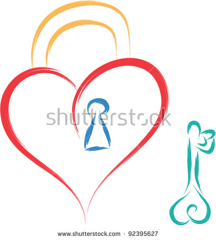 Love Under Lock And Key Clipart.