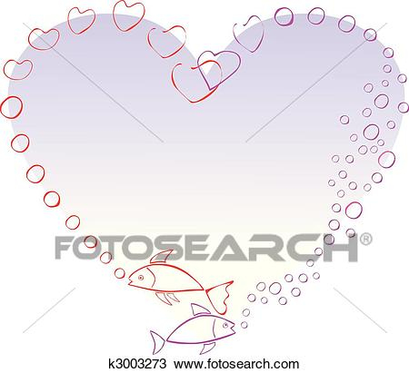 Two fish in love, making a heart with air bubbles Clipart.