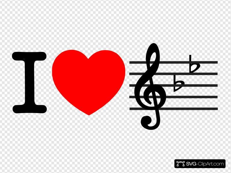 I Love Music Clip art, Icon and SVG.