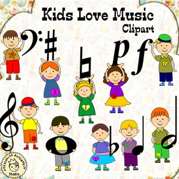 Kids Love Music Clip Art..