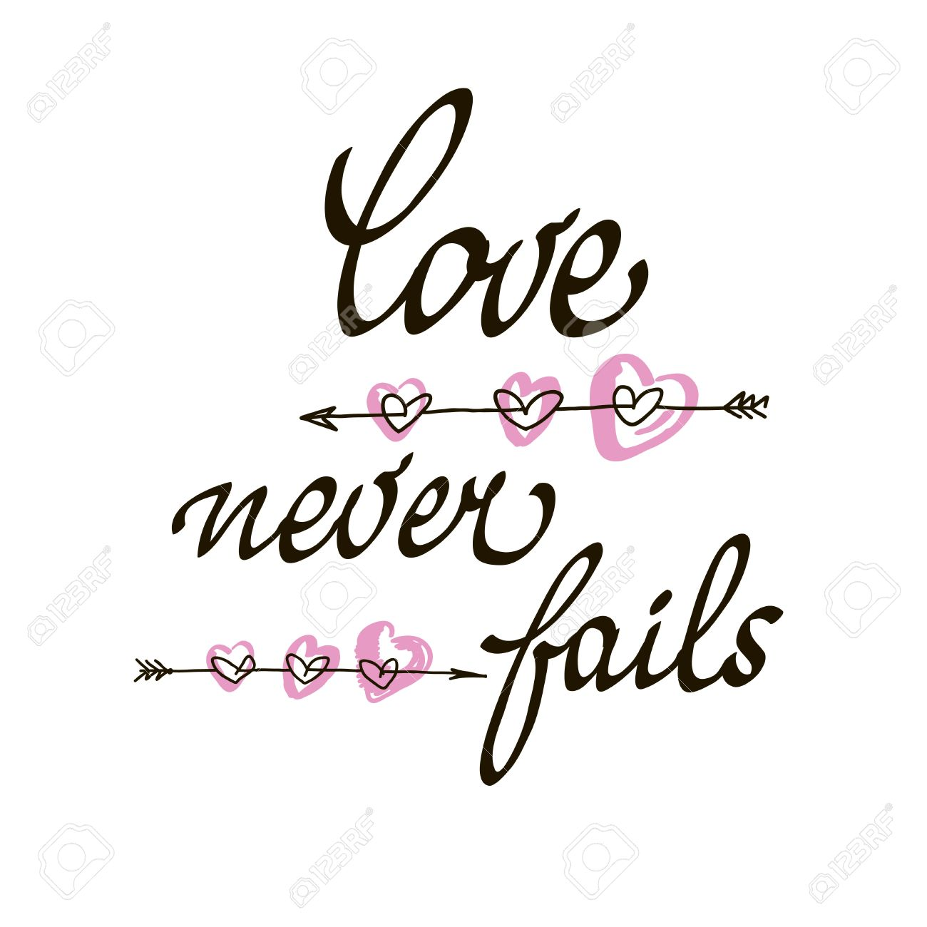 Love never fails lettering handmade vector calligraphy. Simple...