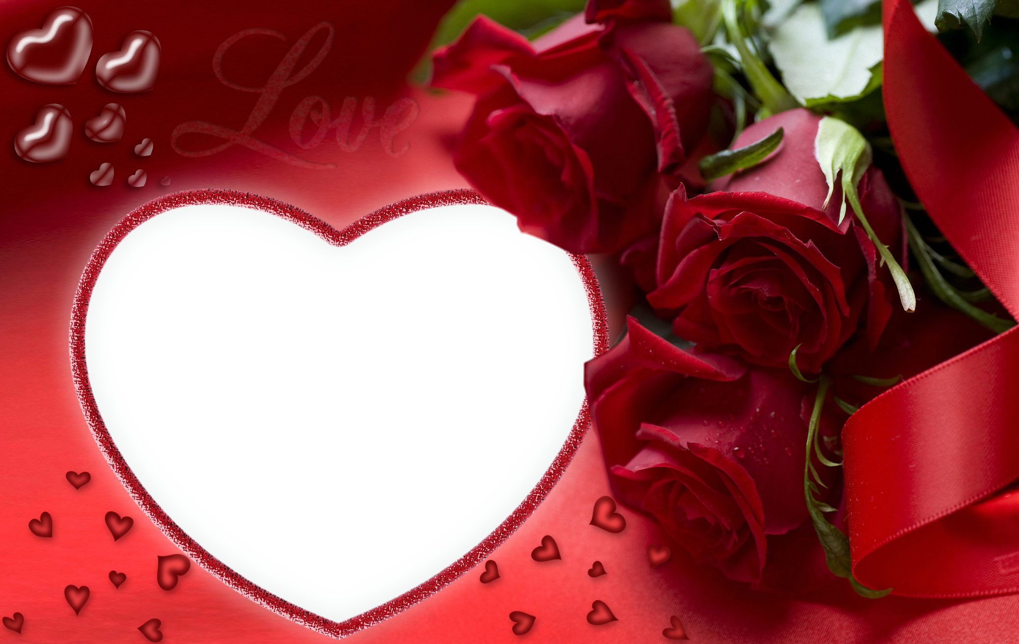 Red Roses and Heart Love PNG Frame.