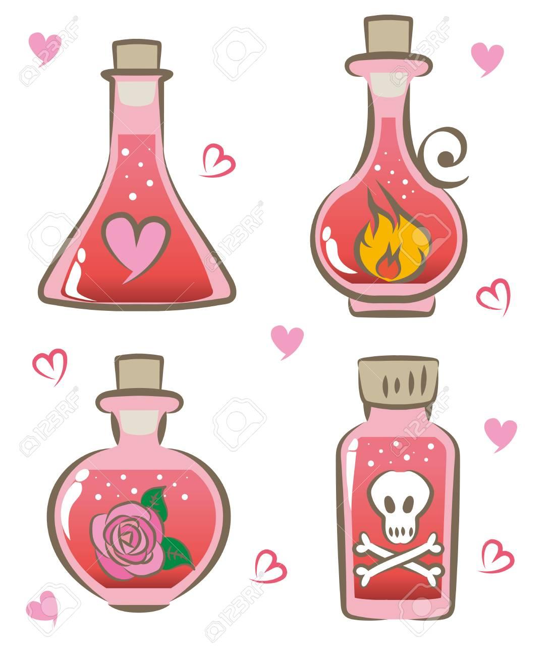 love potion set vector illustration.