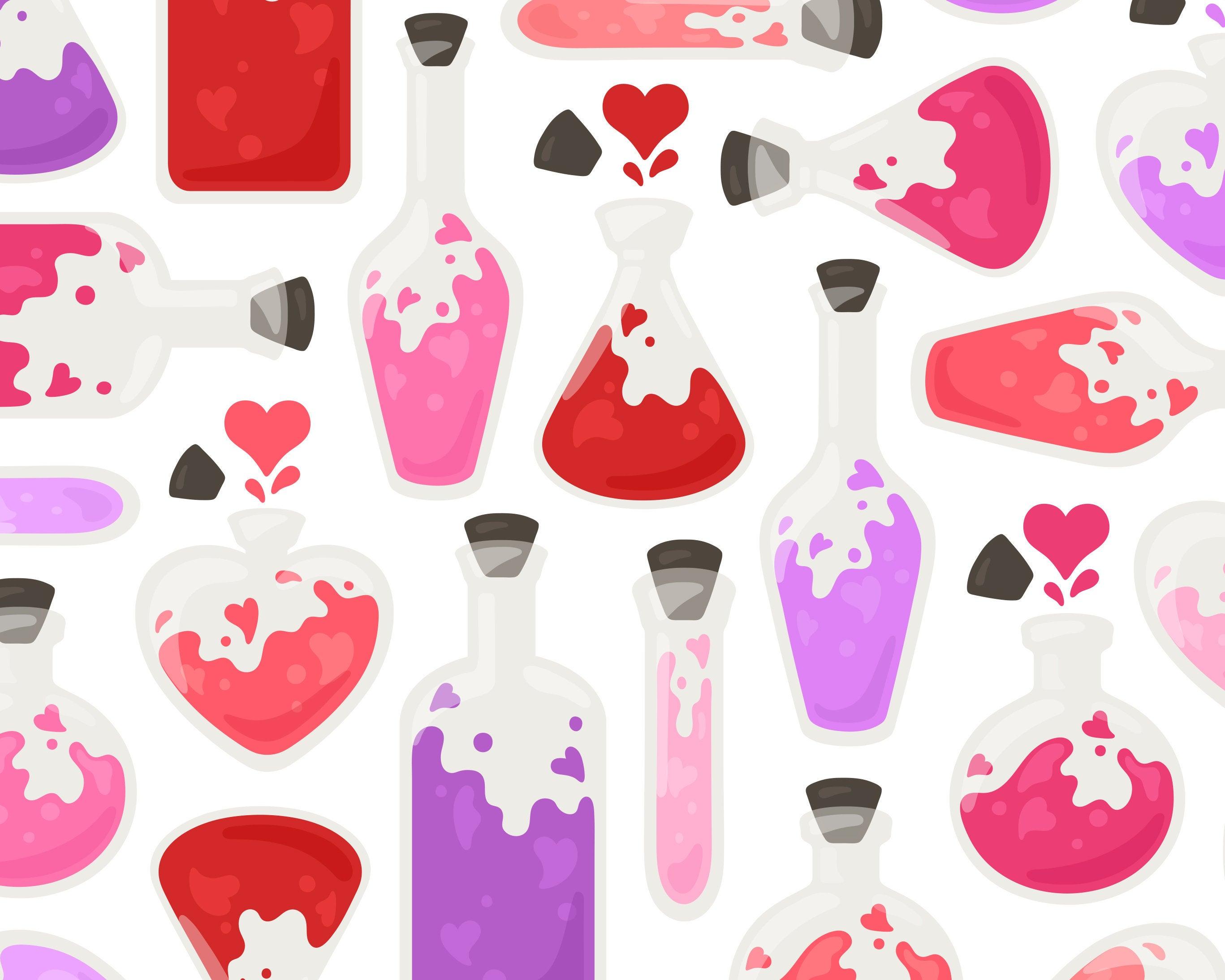 Valentine Love Potion Clip Art, Romantic Valentine's Day Clipart, Purple  Potion Clip Art, Pink Alchemy Clipart, Commercial Use.