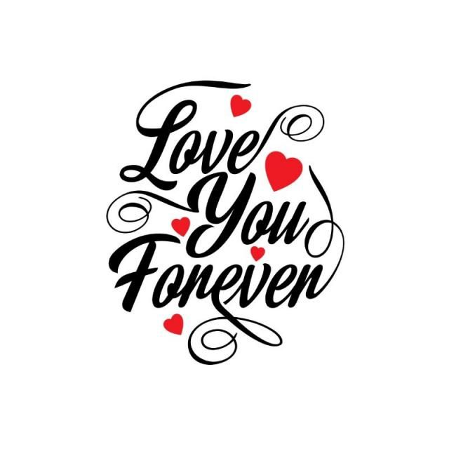 Love You Forever Typographic Card, Text, Type, Typography.