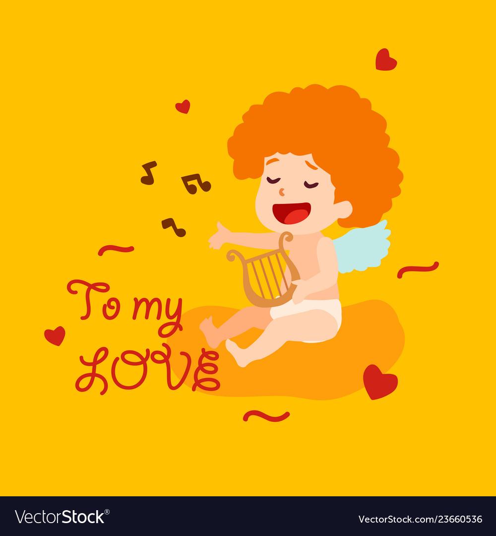 Cute cupid angel sings a love song happy.