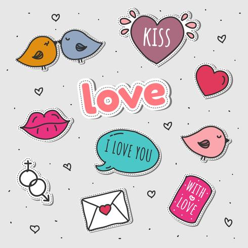 Love Stickers Set Vector.
