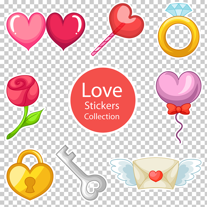 Love sticker material, love stickers PNG clipart.