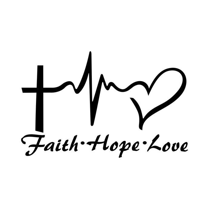 Faith Hope Love Heart graphics design SVG DXF PNG Vector Art.