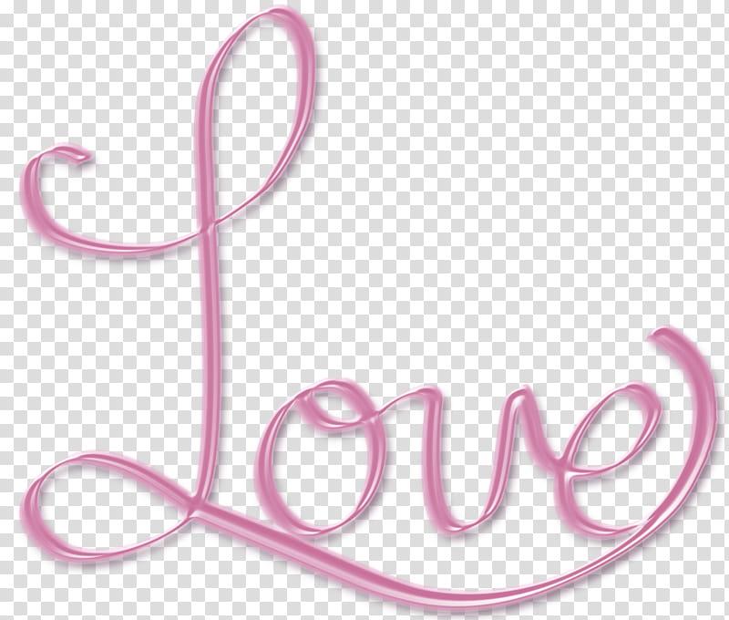 Pink Love word art text, Love text decor transparent.