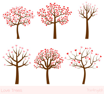 Love trees clipart set, Valentine trees clip art, Red pink heart shaped  leaves.