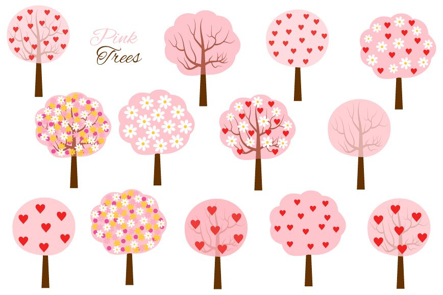 Pink romantic trees clipart set, Love heart trees.