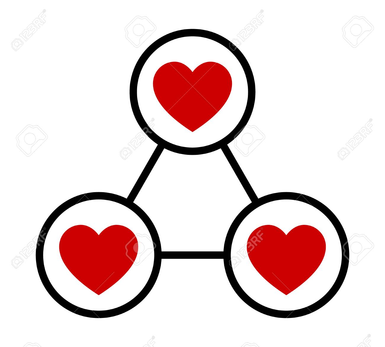 Love triangle or polygamy / polygamous relationship flat vector...