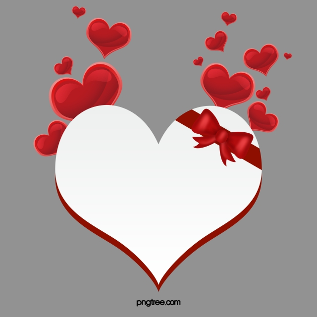 Ribbon Love Vector, Red Stereo Love, Heart Shaped Vector.