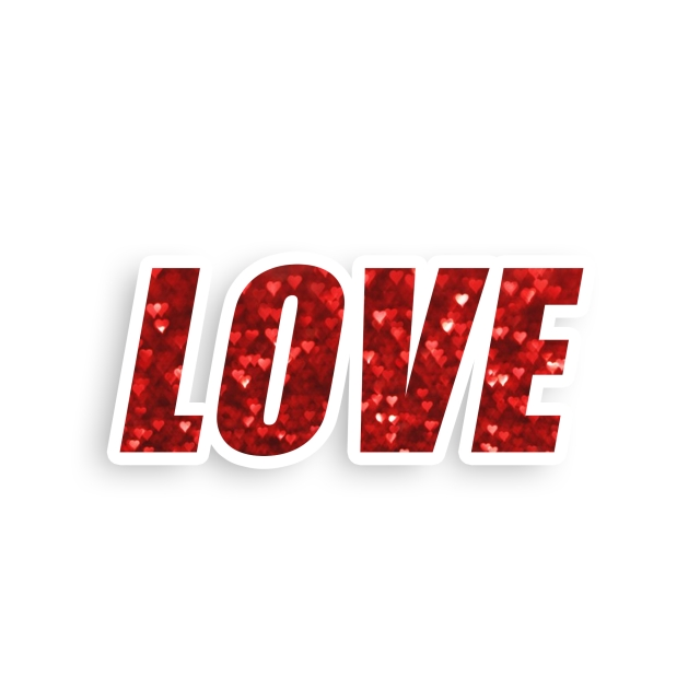 Love Red Glitter Text, Png, Text Letter, Word PNG.