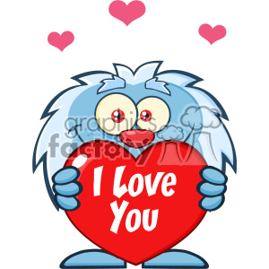 10652 Royalty Free RF Clipart Cute Little Yeti Cartoon Mascot Character  Holding A Valentine Love Heart Vector With Text I love You clipart..