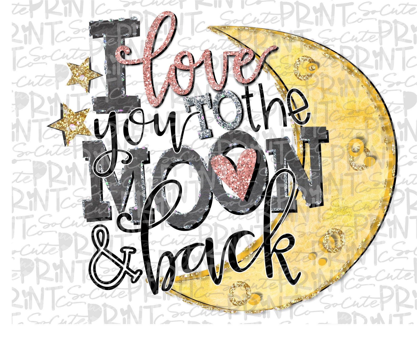 Valentines Day, Love you to the moon & back clipart, Valentine png file for  sublimation printing, Valentines day clipart, valentine design.